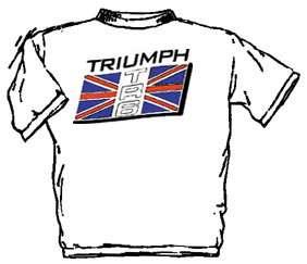 triumph tr6 waving flag on white t shirt for the triumph tr6 fan t