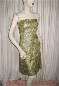Vintage 60s Gold and Green Metallic Brocade Cocktail Dress and Coat