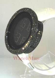 Gucci Mens Black Diamond Watch Rubber Strap 9.25ct