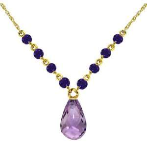 14K Yellow Gold Drop Necklace with Natural Purple Amethysts Jewelry