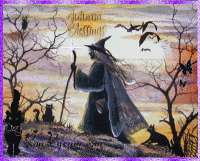 FoLk Art HaLloWeeN Witch Walking Cat OWL Trees Full Moon PRINT
