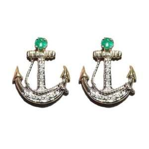 Reyes del Mar 14K Gold Anchor Pave on Post Earring  Sports