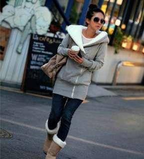 Korea Womens Lady Long Sleeve Hoodie Jacket Coat Warm