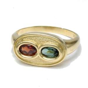 Vintage estate garnet, tourmaline ring 18K gold 7.25