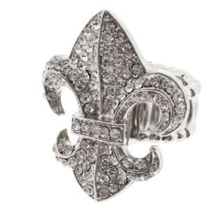 Silver Toned Stretch Band Ring with Crystal Rhinestones Surrounding