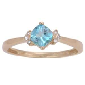 Yellow Gold Apatite and Diamond Diagonal Set Cushion Cut Ring, Size 8