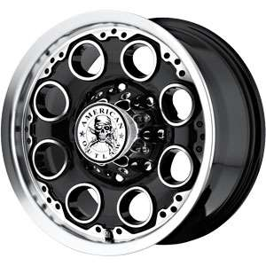 New 16X8 8 170 American Outlaw Patrol Black Machined Face Wheels