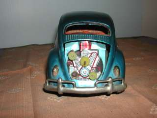 Vintage Bandai Japan Battery Operated Toy Tin Volkswagen Beetle Bug