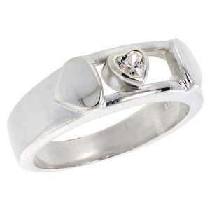 Sterling Silver Heart CZ Band Ring (Available in Sizes 6