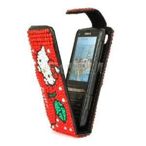 Ecell   RED HELLO KITTY LEATHER BLING FLIP CASE FOR NOKIA