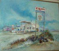Gas Station oil Painting by Laurie Manzano   Nice Original