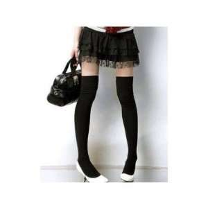 Brand NEW Women Girls Thick Black Thigh High Socks Sockings Cotton