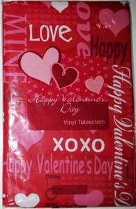 VALENTINES DAY TABLECLOTH 52 Square Red Pink Hearts NEW