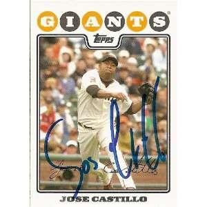Jose Castillo Signed San Francisco Giants 08 Topps Card