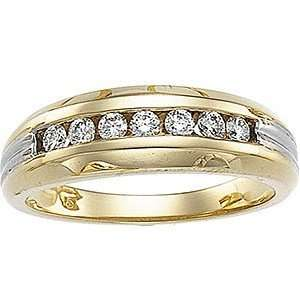 Rich 0.40 Carat Total Weight Two Tone Gents Diamond Ring set in 14 kt