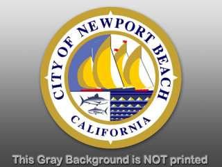Round Newport Beach City Seal Sticker  decal California