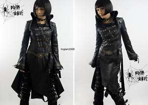 Shop Visual Kei Punk Cosplay Gothic Cyber long Jacket Black