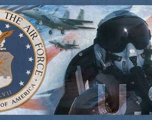 United States US Air Force PrePasted Mural Style Wallpaper Wall Border