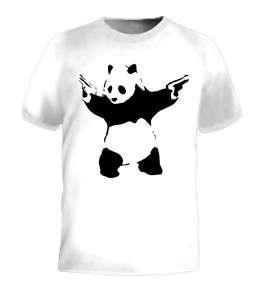 Panda Bear with Guns Animal Kill Cool Funny Tee T Shirt