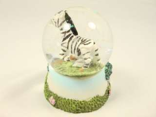 Green tree forest black & White Zebra animal in the snow globe paper