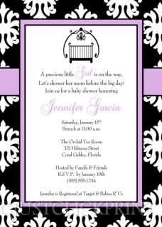 Damask Lavender Black Baby Shower Invitation   UPRINT