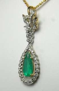 40 cts Classic Art Deco Colombian Emerald & Diamond Pendant
