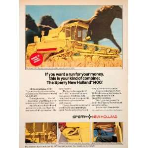 1977 Ad Sperry New Holland 1400 Combine Grain Harvesting Horses Rand