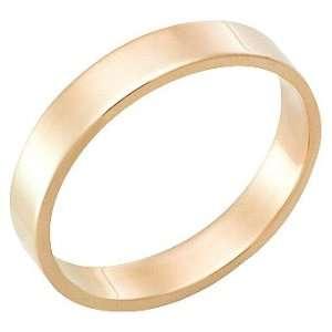 4.0 Millimeters, Flat High Polished 18Kt Gold Wedding Band