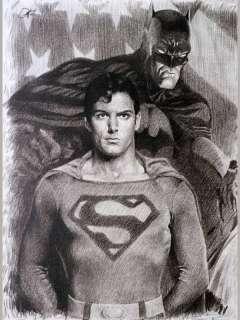 Superman Batman Sketch Portrait Charcoal Pencil Drawing