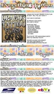 TATTOO FLASH DRAGON 60 SHEETS W/LINES   COOL SET