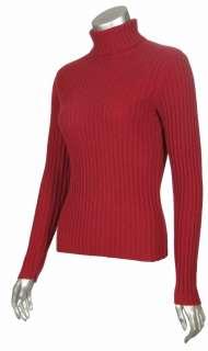 Studio 100% Pure Cashmere Large Ribbed Turtleneck Sweater