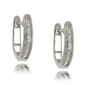 Hoop Earrings 10K Gold   Channel Set Baguettes GEMaffair Jewelry