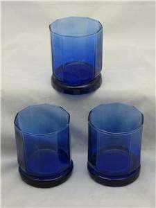Anchor Hocking Essex Cobalt Rock Glass Tumblers Set / 3