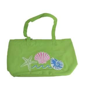 Canvas Tote Bag w/ Sea Shell Design   Green: Office