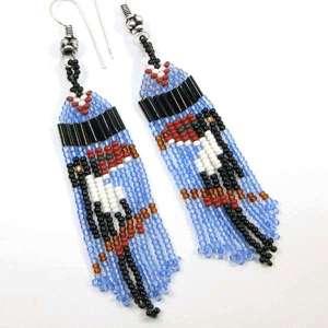 BLUE BLACK BROWN WHITE SEED BEADED TUCAN BIRD EARRINGS