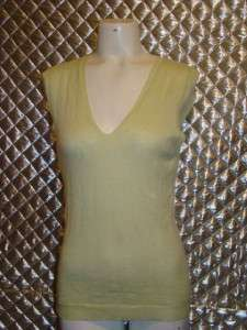 Tse Lime Green Cashmere And Silk Shell Sweater Top Size Large