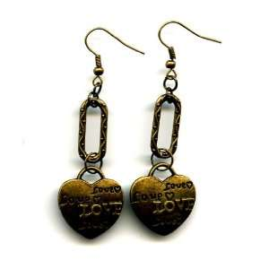 Brass Drop Earrings with Decorative Ovals and Love Heart