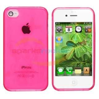 TPU Skin CASE+Car+Wall Charger+Cable+PRIVACY FILTER for iPhone 4S 4G