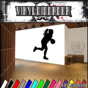 Basketball Girl Dribbling Ball Bball Sport Sports Vinyl Decal Stickers