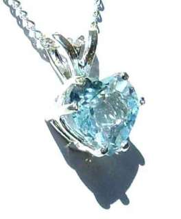 CERTIFIED AQUAMARINE Heart Pendant Silver Necklace 7mm