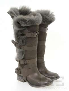 All Saints Spitalfields Dark Brown Suede Shearling Lined Italus Boots