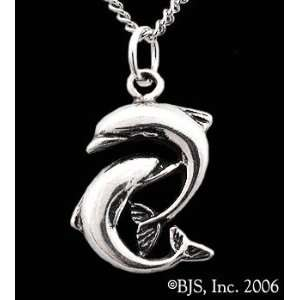 Yin Yang Dolphin Necklace, 14k White Gold, 18 Silver Cable Chain