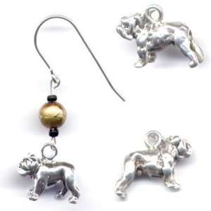 Sterling Silver Bull Dog Charm Glass Bead Earrings AKC