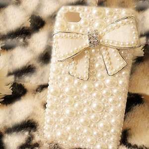 Fashion Girl Bling Bowknot Pearl Case Cover For iPhone 4 4G 4S