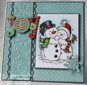 SNOWY CUDDLES Stampavie Penny Johnson Clear/Acrylic Stamp Snowman