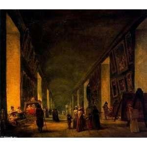 Hubert Robert   32 x 28 inches   La Galería Grande del Louvre