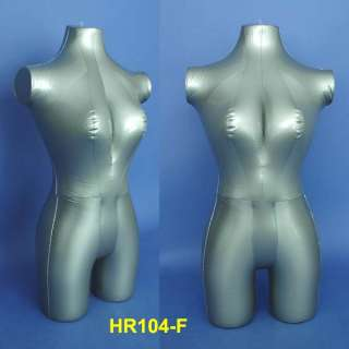 New Silver Female Inflatable Torso Mannequin with Stand