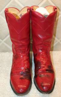 Womens Red JUSTIN Lizzard & Leather Boots SZ   6.5 B