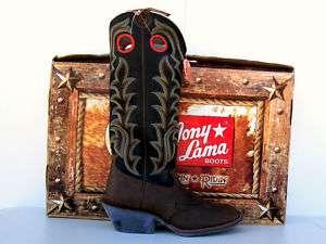 Tony Lama 3R Black Calf/Tan Crazy Horse Buckaroo Boots