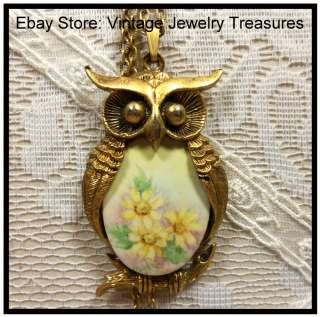 Handpainted Porcelain Jelly Belly Owl Gold Tone Pendant Necklace #2